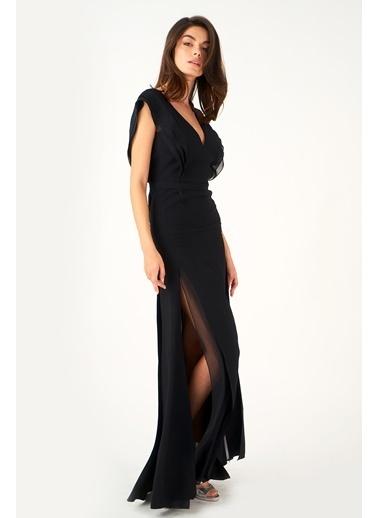 Women&Women Yırtmaçlı Siyah Elbise Siyah